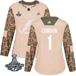 Mike Condon Tampa Bay Lightning Women's Adidas Authentic Camo Veterans Day Practice 2020 Stanley Cup Champions Jersey