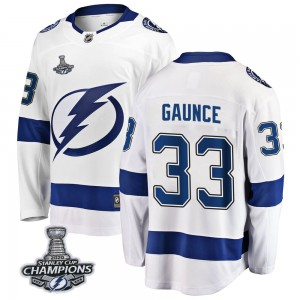 Cameron Gaunce Tampa Bay Lightning Youth Fanatics Branded White Breakaway Away 2020 Stanley Cup Champions Jersey