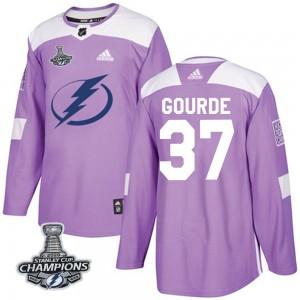 Yanni Gourde Tampa Bay Lightning Men's Adidas Authentic Purple Fights Cancer Practice 2020 Stanley Cup Champions Jersey