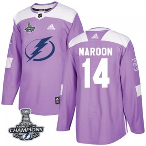 Pat Maroon Tampa Bay Lightning Men's Adidas Authentic Purple Fights Cancer Practice 2020 Stanley Cup Champions Jersey