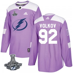 Alexander Volkov Tampa Bay Lightning Men's Adidas Authentic Purple Fights Cancer Practice 2020 Stanley Cup Champions Jersey