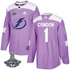 Mike Condon Tampa Bay Lightning Youth Adidas Authentic Purple Fights Cancer Practice 2020 Stanley Cup Champions Jersey