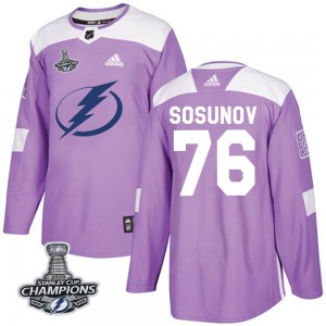 Oleg Sosunov Tampa Bay Lightning Youth Adidas Authentic Purple Fights Cancer Practice 2020 Stanley Cup Champions Jersey