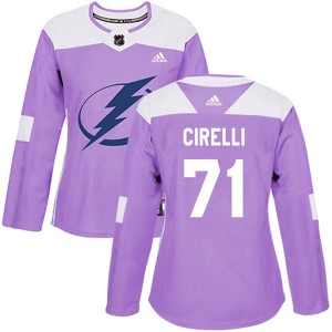 Anthony Cirelli Tampa Bay Lightning Women's Adidas Authentic Purple Fights Cancer Practice Jersey