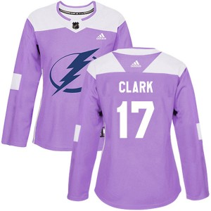 Wendel Clark Tampa Bay Lightning Women's Adidas Authentic Purple Fights Cancer Practice Jersey