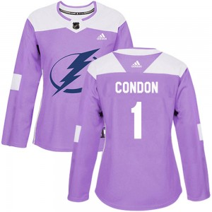 Mike Condon Tampa Bay Lightning Women's Adidas Authentic Purple Fights Cancer Practice Jersey