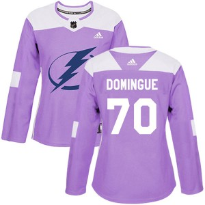 Louis Domingue Tampa Bay Lightning Women's Adidas Authentic Purple Fights Cancer Practice Jersey