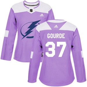 Yanni Gourde Tampa Bay Lightning Women's Adidas Authentic Purple Fights Cancer Practice Jersey