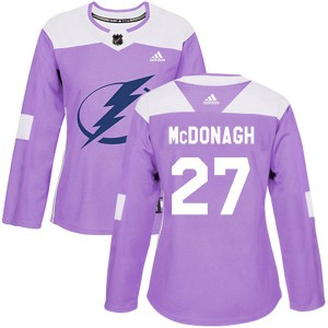 Ryan McDonagh Tampa Bay Lightning Women's Adidas Authentic Purple Fights Cancer Practice Jersey