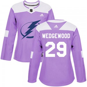 Scott Wedgewood Tampa Bay Lightning Women's Adidas Authentic Purple ized Fights Cancer Practice Jersey