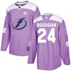 Zach Bogosian Tampa Bay Lightning Men's Adidas Authentic Purple ized Fights Cancer Practice Jersey