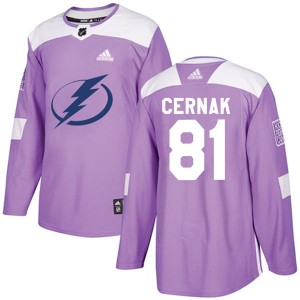Erik Cernak Tampa Bay Lightning Men's Adidas Authentic Purple Fights Cancer Practice Jersey