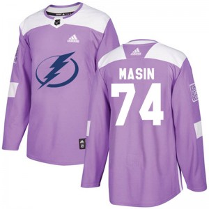 Dominik Masin Tampa Bay Lightning Men's Adidas Authentic Purple Fights Cancer Practice Jersey