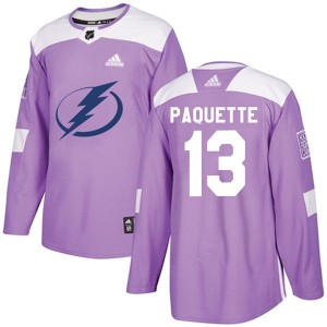Cedric Paquette Tampa Bay Lightning Men's Adidas Authentic Purple Fights Cancer Practice Jersey