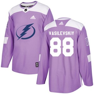 Andrei Vasilevskiy Tampa Bay Lightning Men's Adidas Authentic Purple Fights Cancer Practice Jersey