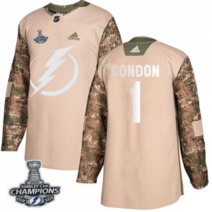 Mike Condon Tampa Bay Lightning Youth Adidas Authentic Camo Veterans Day Practice 2020 Stanley Cup Champions Jersey