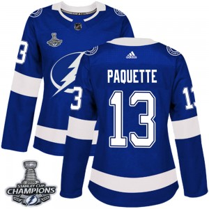 Cedric Paquette Tampa Bay Lightning Women's Adidas Authentic Blue Home 2020 Stanley Cup Champions Jersey