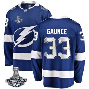 Cameron Gaunce Tampa Bay Lightning Men's Fanatics Branded Blue Breakaway Home 2020 Stanley Cup Champions Jersey