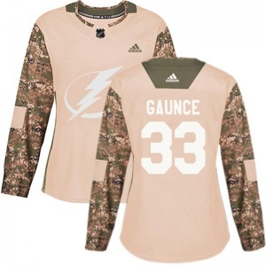 Cameron Gaunce Tampa Bay Lightning Women's Adidas Authentic Camo Veterans Day Practice Jersey
