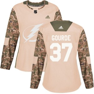 Yanni Gourde Tampa Bay Lightning Women's Adidas Authentic Camo Veterans Day Practice Jersey