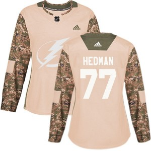 Victor Hedman Tampa Bay Lightning Women's Adidas Authentic Camo Veterans Day Practice Jersey