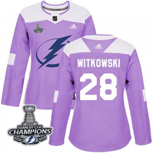 Luke Witkowski Tampa Bay Lightning Women's Adidas Authentic Purple Fights Cancer Practice 2020 Stanley Cup Champions Jersey