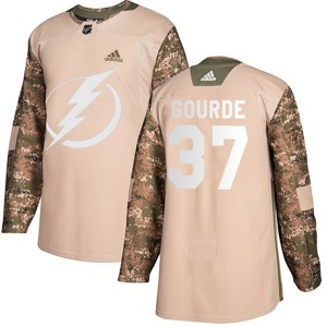 Yanni Gourde Tampa Bay Lightning Youth Adidas Authentic Camo Veterans Day Practice Jersey