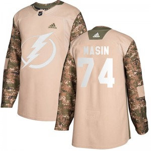 Dominik Masin Tampa Bay Lightning Youth Adidas Authentic Camo Veterans Day Practice Jersey