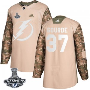 Yanni Gourde Tampa Bay Lightning Men's Adidas Authentic Camo Veterans Day Practice 2020 Stanley Cup Champions Jersey