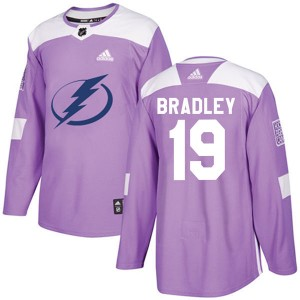 Brian Bradley Tampa Bay Lightning Youth Adidas Authentic Purple Fights Cancer Practice Jersey