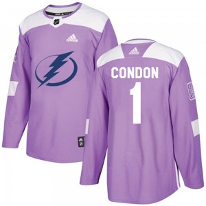 Mike Condon Tampa Bay Lightning Youth Adidas Authentic Purple Fights Cancer Practice Jersey