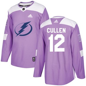 John Cullen Tampa Bay Lightning Youth Adidas Authentic Purple Fights Cancer Practice Jersey