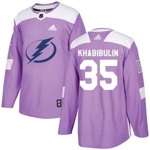 Nikolai Khabibulin Tampa Bay Lightning Youth Adidas Authentic Purple Fights Cancer Practice Jersey