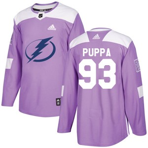 Daren Puppa Tampa Bay Lightning Youth Adidas Authentic Purple Fights Cancer Practice Jersey