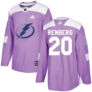 Mikael Renberg Tampa Bay Lightning Youth Adidas Authentic Purple Fights Cancer Practice Jersey