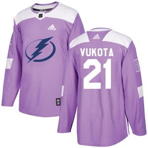 Mick Vukota Tampa Bay Lightning Youth Adidas Authentic Purple Fights Cancer Practice Jersey