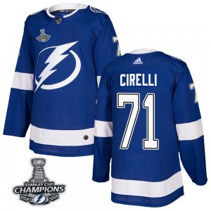 Anthony Cirelli Tampa Bay Lightning Men's Adidas Authentic Blue Home 2020 Stanley Cup Champions Jersey