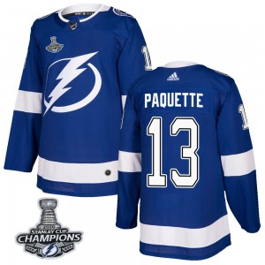 Cedric Paquette Tampa Bay Lightning Men's Adidas Authentic Blue Home 2020 Stanley Cup Champions Jersey