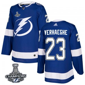 Carter Verhaeghe Tampa Bay Lightning Men's Adidas Authentic Blue Home 2020 Stanley Cup Champions Jersey