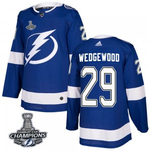 Scott Wedgewood Tampa Bay Lightning Men's Adidas Authentic Blue Home 2020 Stanley Cup Champions Jersey