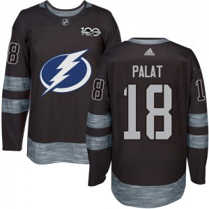 Ondrej Palat Tampa Bay Lightning Men's Adidas Authentic Black 1917-2017 100th Anniversary Jersey