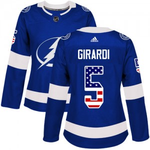 Dan Girardi Tampa Bay Lightning Women's Adidas Authentic Blue USA Flag Fashion Jersey