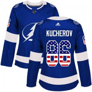 Nikita Kucherov Tampa Bay Lightning Women's Adidas Authentic Blue USA Flag Fashion Jersey