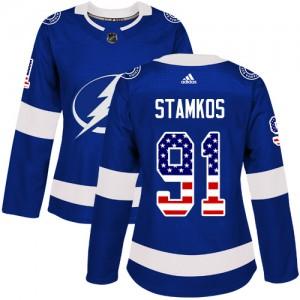 Steven Stamkos Tampa Bay Lightning Women's Adidas Authentic Blue USA Flag Fashion Jersey