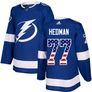 Victor Hedman Tampa Bay Lightning Men's Adidas Authentic Blue USA Flag Fashion Jersey
