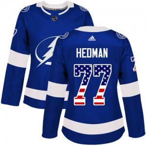 Victor Hedman Tampa Bay Lightning Women's Adidas Authentic Blue USA Flag Fashion Jersey