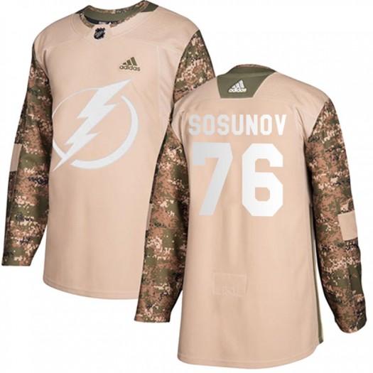 Oleg Sosunov Tampa Bay Lightning Men's Adidas Authentic Camo Veterans Day Practice Jersey