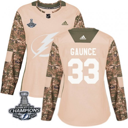 Cameron Gaunce Tampa Bay Lightning Women's Adidas Authentic Camo Veterans Day Practice 2020 Stanley Cup Champions Jersey