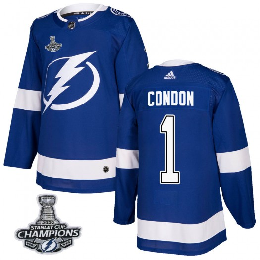 Mike Condon Tampa Bay Lightning Youth Adidas Authentic Blue Home 2020 Stanley Cup Champions Jersey