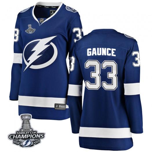 Cameron Gaunce Tampa Bay Lightning Women's Fanatics Branded Blue Breakaway Home 2020 Stanley Cup Champions Jersey